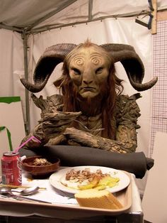 Lunch break on the set of Pans Labyrinth.
