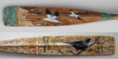 Intricate artwork on vintage oars by Justine Hawksworth Nz Art, Meet The Artist, Art Blog, New Zealand, Overlays, Backdrops, Art Prints, Artwork, Room