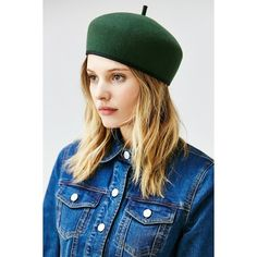 Gia Structured Beret ($39) ❤ liked on Polyvore featuring accessories, hats, green, wool beret hat, green hat, beret hat, wool hat and woolen hat