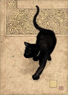Black Cat. / Chat noir. / By Jane Crowther.
