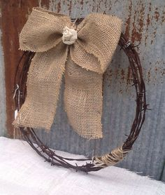 Rustic Barb Wire Wreath With Burlap Bow by ShabbyChicAntique101, $18.00