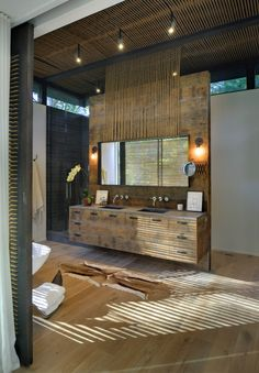 BathRoom Modern Style Decor: Robins Way Architects: Bates Masi Architects Location: Amagansett, New York, USA Bad Inspiration, Bathroom Inspiration, Interior Inspiration, Bathroom Interior, Modern Bathroom, Wood Bathroom, Design Bathroom, Bathroom Sinks, Bathroom Ideas