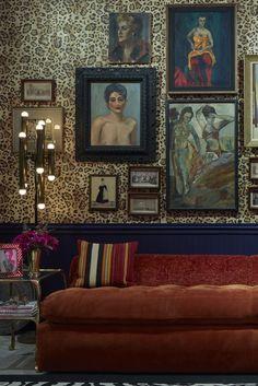 Ken Fulk Interior Design, Gallery Wall Inspiration, Veronica Beard Basement Apartment, Leopard Wallpaper