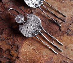 Sterling Silver Earrings, Sterling Earrings, Rustic Primitive Ethnic Tribal Earrings, Native American Metalsmith Quartz Dangle Earrings