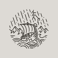 For sale! 🌩 I had a request to do a Viking longboat/stormy seas design so here you go! Norse Tattoo, Viking Tattoos, Armor Tattoo, Warrior Tattoos, Viking Tattoo Design, Viking Ship Tattoo, Celtic Tattoos, Tattoo Drawings, Body Art Tattoos
