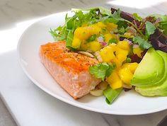 Pan-seared Salmon with Mango Salsa and Avocado makes an anti-inflammatory powerhouse meal!