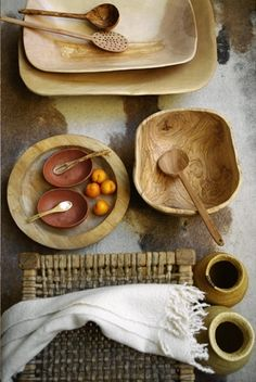 wooden bowls and utensils
