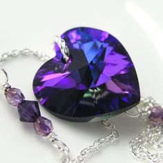 ELECTRIC PURPLE Heart Necklace, Amethyst Cobalt Blue Swarovski Crystal, Sterling Silver