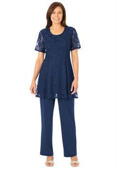 Plus Size Knit tunic and pants set