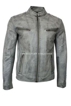 'SPEED' Men's LIGHT GREY Stone Washed Biker Style Motorcycle Real Leather Jacket | Clothes, Shoes & Accessories, Men's Clothing, Coats & Jackets | eBay!