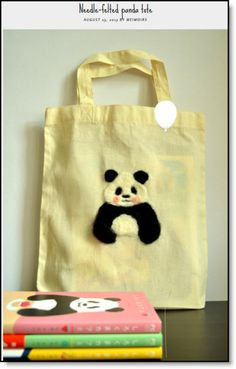 needle felted bear tote ♥ http://felting.craftgossip.com/2014/04/11/needle-felted-panda-tote-tutorial/