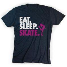 Figure Skating T-Shirt Short Sleeve Eat. Figure Skating Outfits, Skating Dresses, Cricut Craft, Cricut Ideas, Roller Skating, Ice Skating, Quad, Skate Shirts, Ice Ice Baby