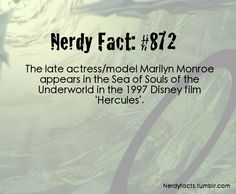 "Disney Fun Fact: The late actress/model, Marilyn Monroe, appears in the Sea of Souls of Hades' Underworld in the 1997 Disney film, ""Hercules"". Disney Girls, Disney Love, Disney Magic, Princess Disney, Disney Stuff, Disney Princesses, Disney Characters, Disney And Dreamworks, Disney Pixar"