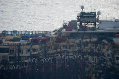 Costa Concordia Refloat Operation For Capsized Ocean Liner Underway (PICTURES) A picture shows the control room of salvage master Nick Sloane on the top of the wreck of the Costa Concordia cruise ship during the start of an operation to refloat it on July 14, 2014 off the Giglio Island. (VINCENZO PINTO via Getty Images)