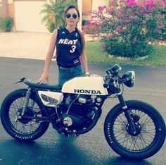 Gimme da bike. Gimme da girl. Lose the Heat jersey. #caferacer