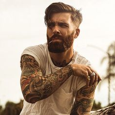 Levi Stocke - dark red beard beards bearded man men mens' style summer vintage retro tattoos tattooed auburn redhead ginger #beardsforever