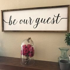 Be Our Guest Wood Sign Size: Background: White premium matte paint Lettering: Cursive flowing font, black matte premium paint Frame: Miter crafted frame in brown walnut, douglas fir, solid … Casa Disney, Disney Diy, Disney Songs, Disney House, Be Our Guest Sign, Guest Room Sign, Guest Room Decor, Deco Disney, Disney Home Decor