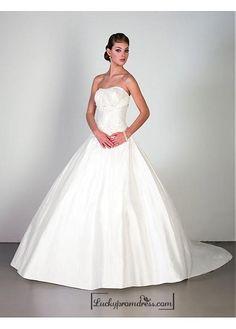 Beautiful Elegant Exquisite Strapless Satin Wedding Dress In Great Handwork