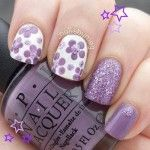 flower nail designs with purple gels 150x150 Cool Gel Nail Ideas