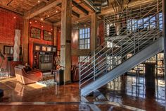 Lofts/Exposed brick, wood beams, and steel. Warehouse Living, Warehouse Home, Loft Design, House Design, Loft Conversion Design, Industrial House, Industrial Lighting, Industrial Furniture, Urban Industrial