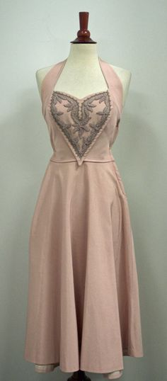 1950's Mauve Faille Sweetheart Embroidered Halter, Cinch Waist, Swing Skirt Vintage Party Dress