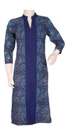 Okhai 'Persian Pasley' Cotton Block Printed Long Kurta. - Women | Okhai.org