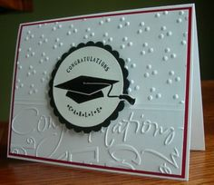 "Graduation card idea. I love the embossed ""congratulations""."