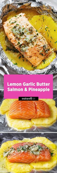 This lemon garlic butter salmon is a breeze to make and the method of cooking it all together in a foil pouch seals in moisture and keeps the sweet aroma intact. A no-fuss weeknight dinner with no … gelbe Kürbisrezepte Beilagen geröstetes Gemüse Salmon Recipes, Fish Recipes, Seafood Recipes, Dinner Recipes, Cooking Recipes, Healthy Recipes, Cooking Ideas, Cooking Food, Indian Recipes