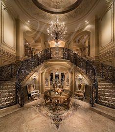 ~ Double Grand Foyer Stairway / Wrought Iron Railings ~ perlalichi.com