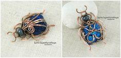 "Pendant ""Scarab beetle"" Azurite, Czech glass, copper"