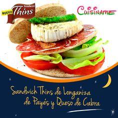Sándwich Thins de Longaniza de Payés y Queso de Cabra.