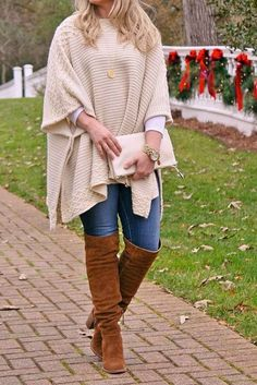The perfect over the knee boots with jeans and a cute poncho for a great winter outfit idea by Peaches in a Pod