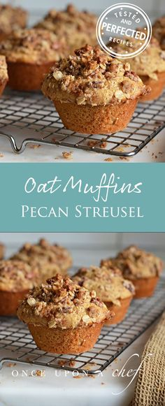Oat Muffins with Pecan Streusel Topping - They're hearty with a wholesome oatey flavor and crunchy streusel topping. I love them because they bake up so nicely. Typically, homemade muffins don't rise as high as bakery muffins. It's not the fault of the Zucchini Muffins, Muffins Blueberry, Oat Muffins, Streusel Topping For Muffins, Muffin Recipes, Breakfast Recipes, Dessert Recipes, Desserts, Breakfast Bites