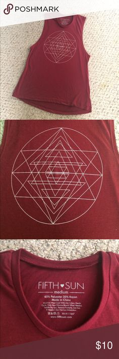 Fifth Sun Sacred Geometry Tank Top size Medium Good used condition burgundy and white size Medium tank top. This reminds me of sacred geometry or an esoteric pattern. It'd be an eye catching top for festival season and a perfection addition to your rave gear. There's some minor pilling on the top bc of that is open to offers Fifth Sun Tops Tank Tops