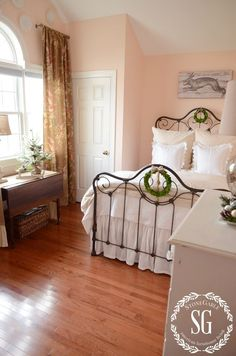 Restful little country bedroom. Love the wall color.