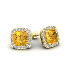 2 Carat Cushion Cut Citrine and Halo Diamond Stud Earrings In 14 Karat Yellow Gold #cushioncutdiamonds