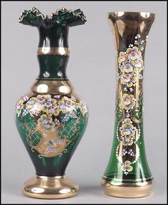 TWO HAND PAINTED GREEN BOHEMIAN GLASS VASES.