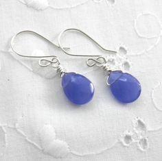 Blue Glass Teardrop Earrings Briolettes Denim by JulieEllisDesigns