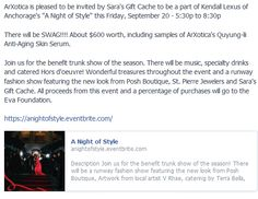 """ArXotica is pleased to be invited by Sara's Gift Cache to be a part of Kendall Lexus of Anchorage's """"A Night of Style"""" this Friday, September 20 - 5:30p to 8:30p  https://anightofstyle.eventbrite.com/"""