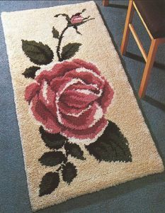 Classic Rose x cm) latch hook rug kit. Kit comes complete with stamped mesh latch hook canvas, yarn is 2 x 3 ply acrylic pre-cut rug yarn (equivalent to 6 ply) and complete instructions. Requires latch hook tool to complete. Latch Hook Rug Kits, Diy Locker, Rug Yarn, Hand Hooked Rugs, Shag Carpet, Small Rugs, Rug Hooking, Carpet Runner, Weaving