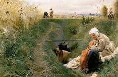 Anders Leonard Zorn (1860 — 1920, Sweden) Our Daily Bread. 1886 watercolour. 68 x 102 cm. Stockholm, Nationalmuseum.
