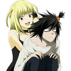Death Note L And Misa Kiss ❤ liked on Polyvore featuring death note, anime y render