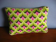 Vintage Bargello Pillow by vintagesprawl on Etsy, $39.00