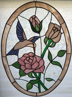 "Real Authentic Stained Glass Pink Rose Blue Bird Suncatcher 20"" 14"" Oval 