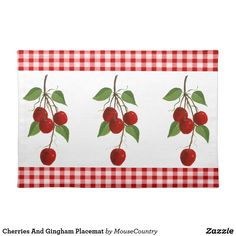 Cherries And Gingham Placemat