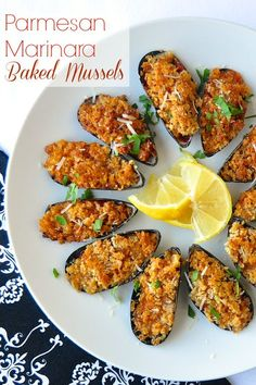 Parmesan Marinara Baked Mussels – make a terrific, easy first course for a celebration dinner, especially a romantic dinner for two on Valentine's Day.