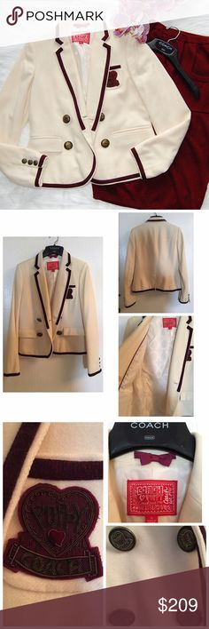 COACH 'Poppy' Blazer Stunning cream blazer with burgundy/maroon trim and details. Insignia buttons. Three front pockets and one interior pocket. 100% wool. Lining is 100% polyester and has the signature Coach print. Some minor stains as seen in the pictures. Comes with Coach hanger and a silk garment bag. Coach Jackets & Coats Blazers