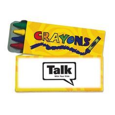 Increase your name recognition with this fun-filled promotional product! Our4 pack of wax crayons includes a red, blue, yellow, and green stick. Crayons bring out the creative side in everyone and encourage children to express themselves. Non-toxic, so parents can rest easy. Conforms to ASTM D4236. This child friendly promotional item would be great for schools, restaurants and hospitals. Fun for kids of all ages.