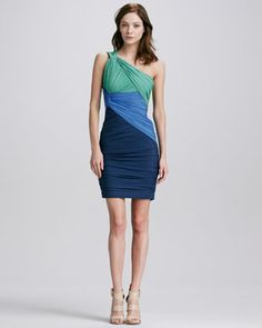 881ee6fb3b7 Halston Heritage Ruched Colorblock One-Sholuder Dress