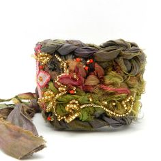 Fabric Crochet Cuff, Flower Bracelet, Boho Style, Hippie Jewelry, Cuff Bracelet, Rag Crochet, Bracelet Cuff, Upcycled Jewelry. $52.00, via Etsy.